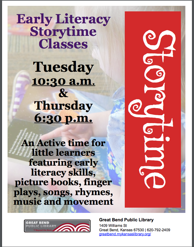 Storytime classes for children on Tuesday mornings and Thursday evenings