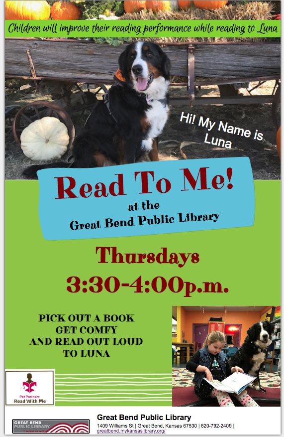 Come read to Luna, the Bernese Mountain Dog on Thursday afternoons!
