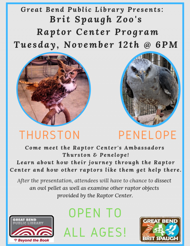 Come meet the Raptor Center's Ambassadors Thurston and Penelope!